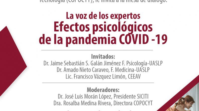 COPOCYT Y SICITI REALIZARÁN MESA DE DIÁLOGO: EFECTOS PSICOLÓGICOS DE LA PANDEMIA COVID-19