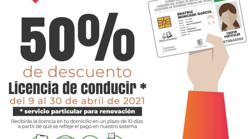 50% DE DESCUENTO EN RENOVACIÓN DE LICENCIAS DE CONDUCIR Y 30% EN TRÁMITE DE PRIMERA VEZ